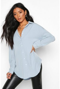 Oversized Soft Touch Denim Shirt, Light blue, Donna