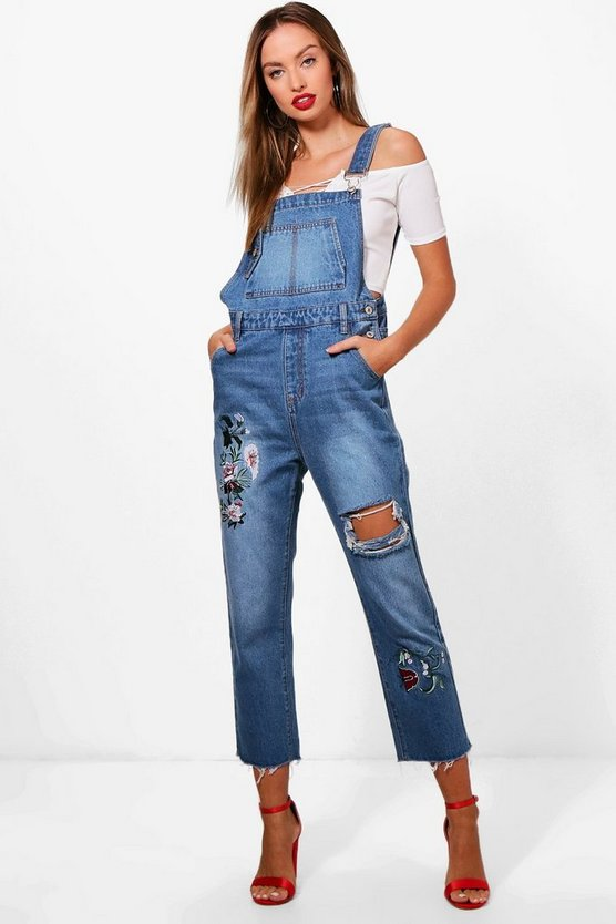 Mid blue Stacy Oversized Embroidery Denim Dungarees