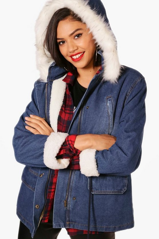 Padded Hooded Denim Parka