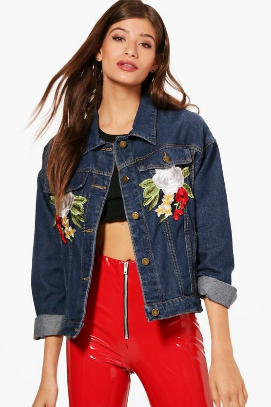 Oversized Rose Applique Denim Jacket