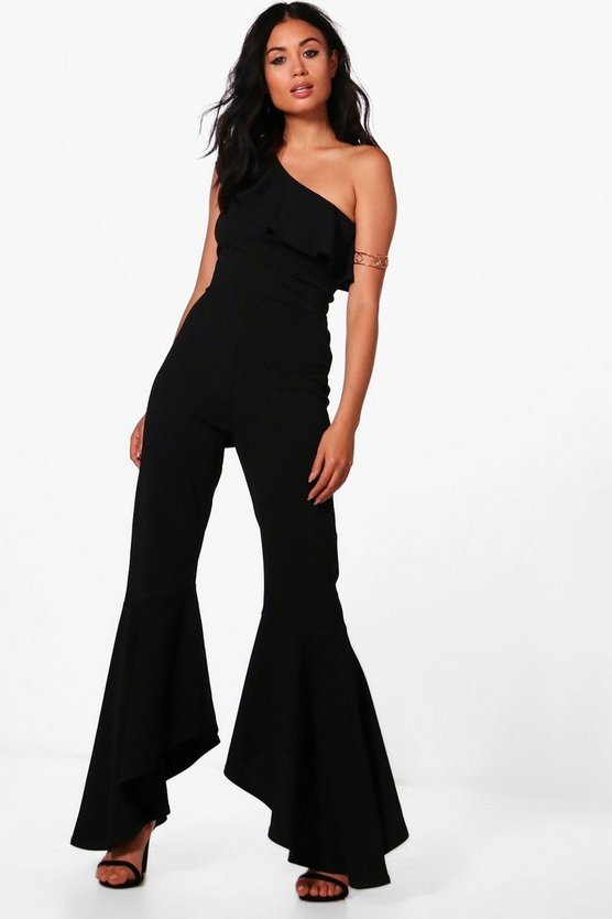 Womens Black One Shoulder Frill Hem Jumpsuit