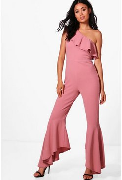 Womens Mink One Shoulder Frill Hem Jumpsuit