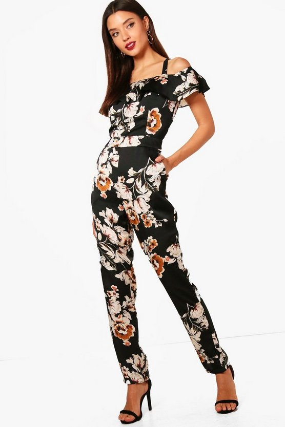 All Over Floral Cold Shoulder Jumpsuit