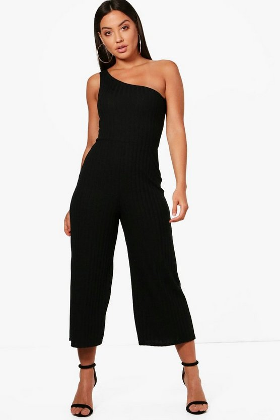 One Shoulder Culotte Jumpsuit