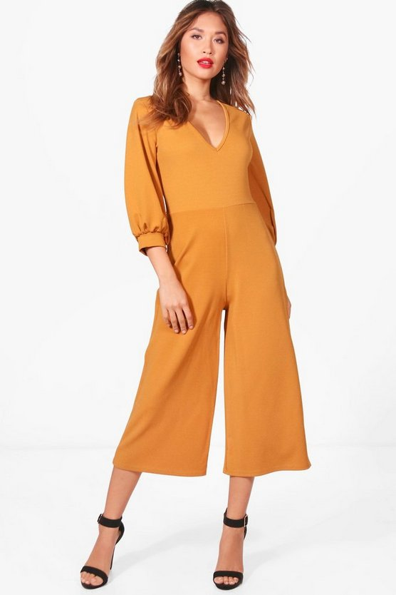Short Puff Sleeve Culotte Jumpsuit