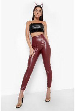 Womens Plum High Waist Stretch Vinyl Leggings