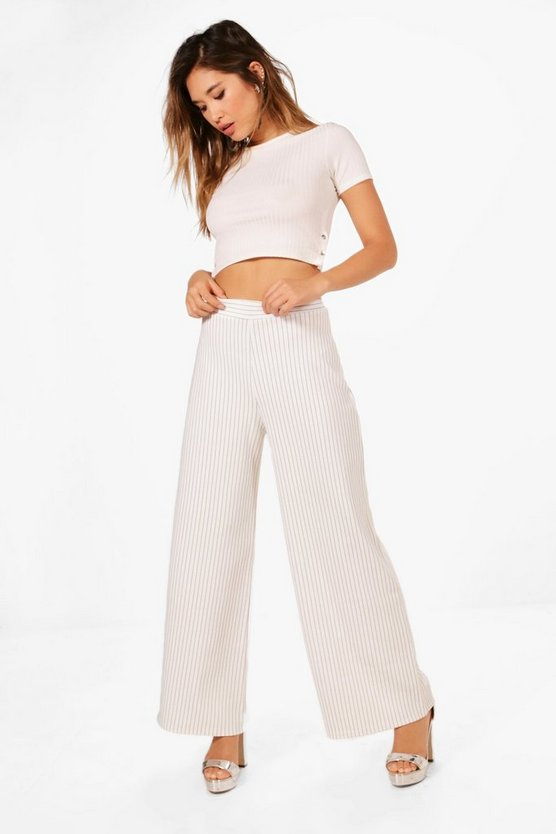Ribbed Stripe Wide Leg Trousers