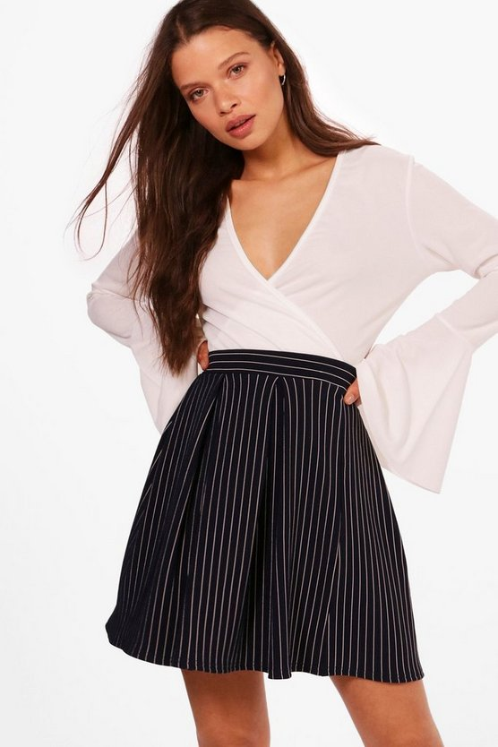 Ribbed Stripe Box Pleat Skater Skirt