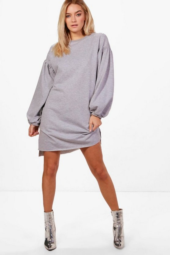 Pearl Detail Extreme Sleeve Sweat Dress