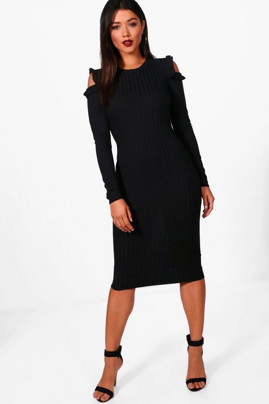 Ribbed Frill Cold Shoulder Midi Dress