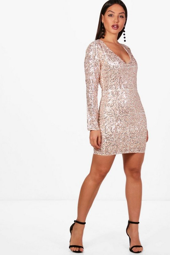 Boutique Sequin Print Bodycon Dress