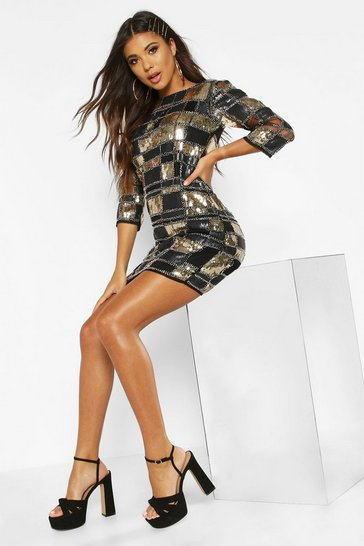 Black Boutique  Sequin 3/4 Sleeve Bodycon Dress