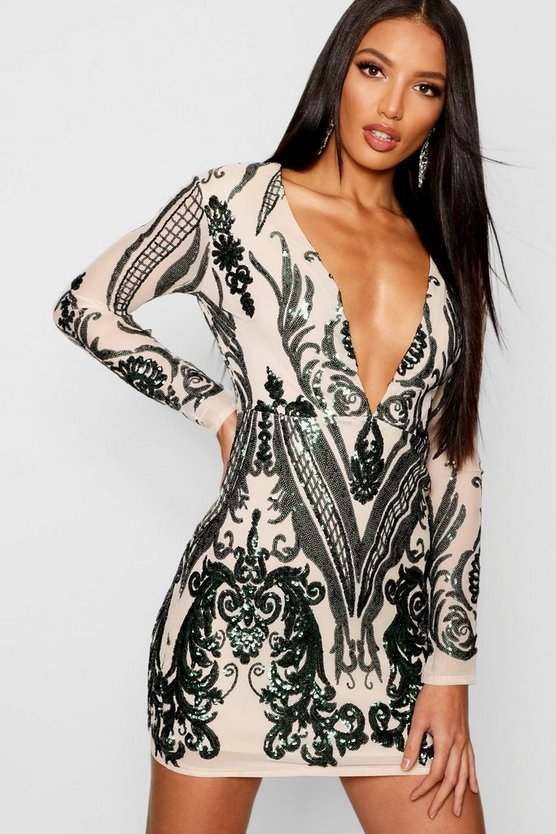 Boutique  Sequin Mesh Bodycon Dress