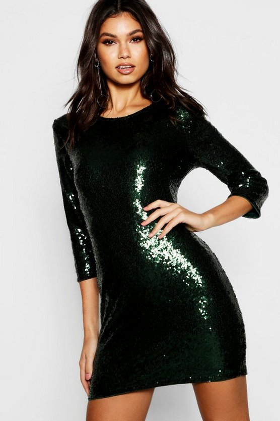 Womens Emerald Boutique Sequin Bodycon Dress