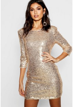 Womens Gold Boutique Sequin Bodycon Dress
