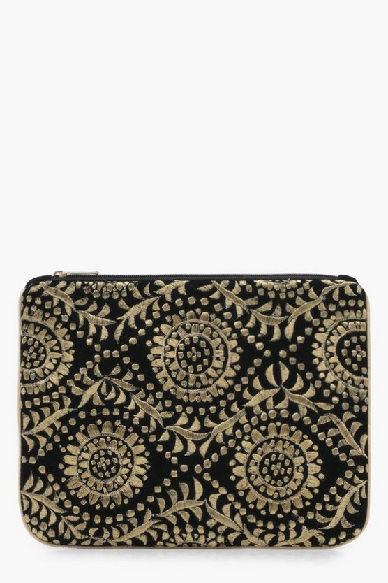 Womens Brocade Ziptop Clutch