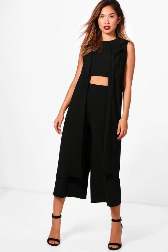 Womens Black 3 Piece Crop Culotte & Duster Co-Ord Set