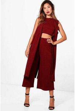 Womens Mulberry 3 Piece Crop Culotte & Duster Co-Ord Set