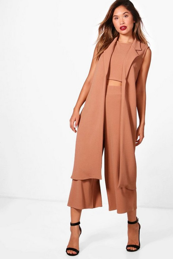 Womens Tan 3 Piece Crop Culotte & Duster Co-Ord Set