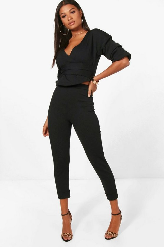 Womens Black Wrap Rouche Top & Pants Co-Ord Set