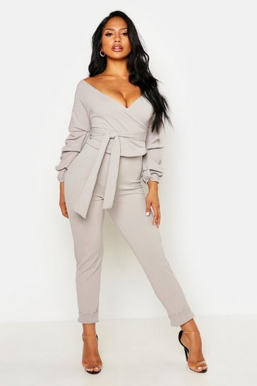 Womens Grey Wrap Rouche Top & Trouser Co-Ord Set