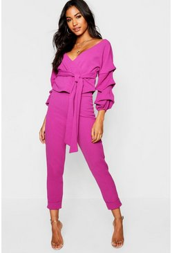 Womens Jewel purple Wrap Rouche Top & Pants Co-Ord Set
