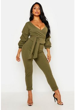 Khaki Wrap Rouche Top & Trouser Co-Ord Set