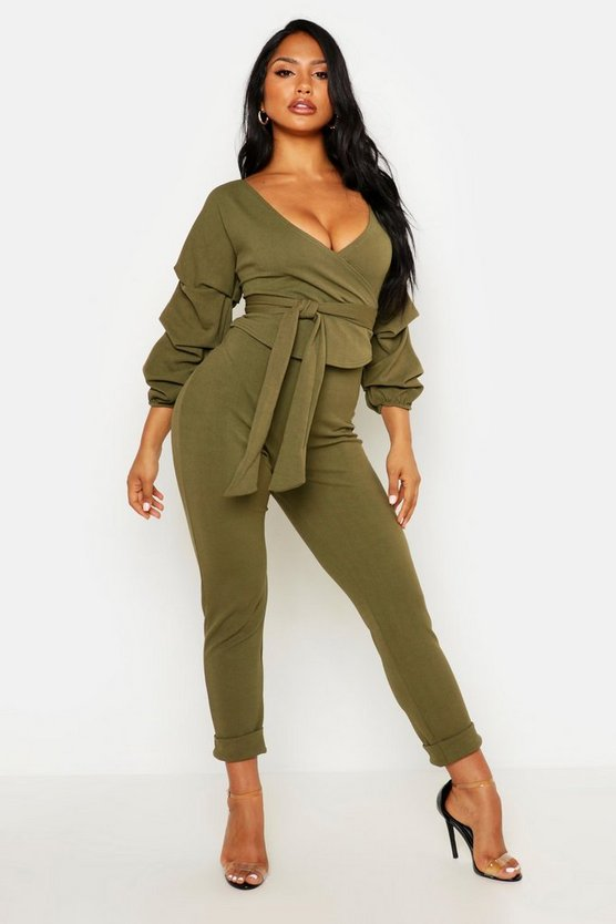 Womens Khaki Wrap Rouche Top & Pants Co-Ord Set