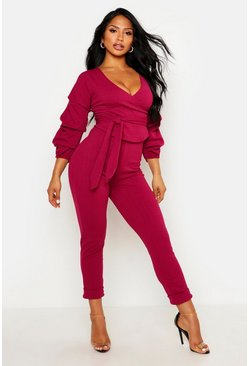 Raspberry Wrap Rouche Top & Trouser Co-Ord Set