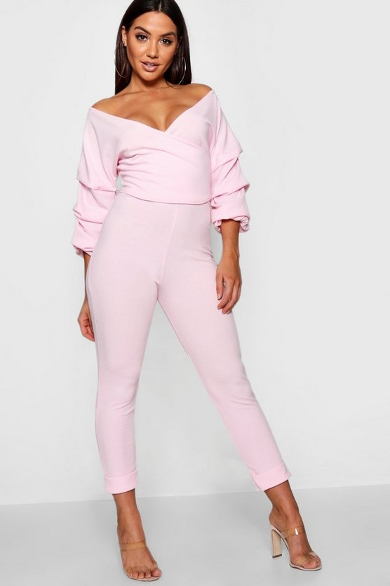 Womens Soft pink Wrap Rouche Top & Trouser Co-Ord Set