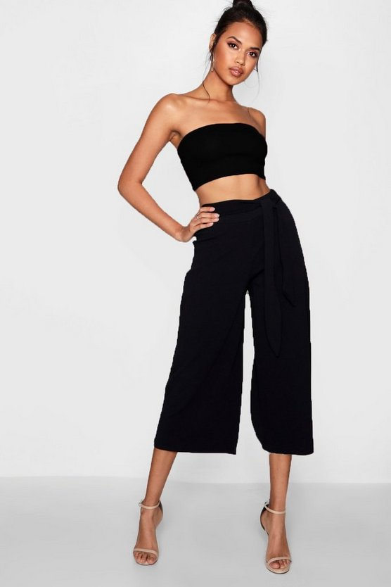 Womens Black Tie Waist Culotte Co-Ord Set