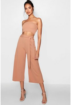 Womens Tan Tie Waist Culotte Co-Ord Set