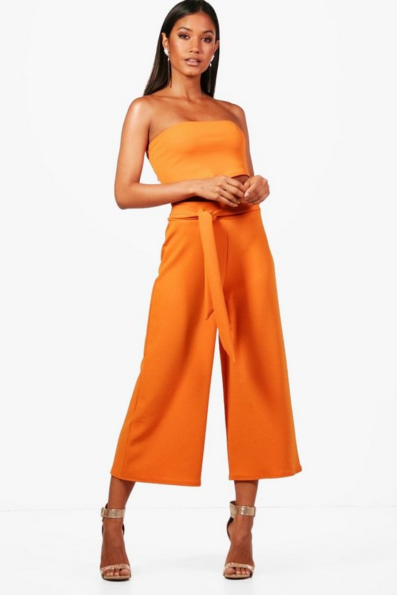 Womens Tangerine Tie Waist Culotte Co-Ord Set