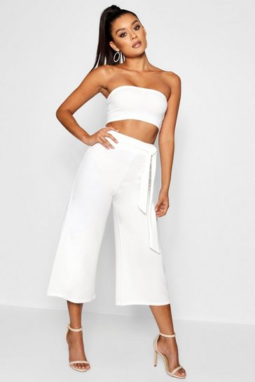 Womens White Tie Waist Culotte Co-Ord Set