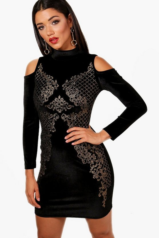 Jess Foil + Bead Embellished Cold Shoulder Dress