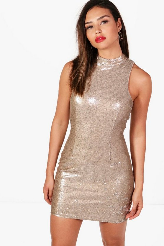 Sequin Racer Front Bodycon Dress