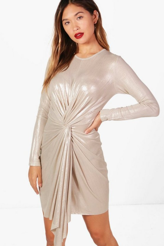 Sarah Metallic Drape Detail Bodycon Dress