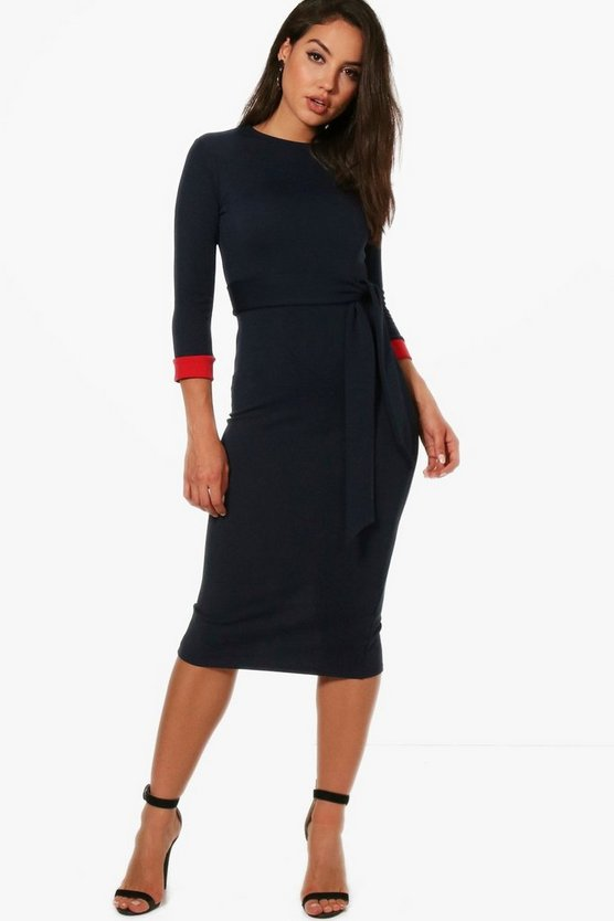 Formal Contrast Cuff Tie Belt Midi Dress