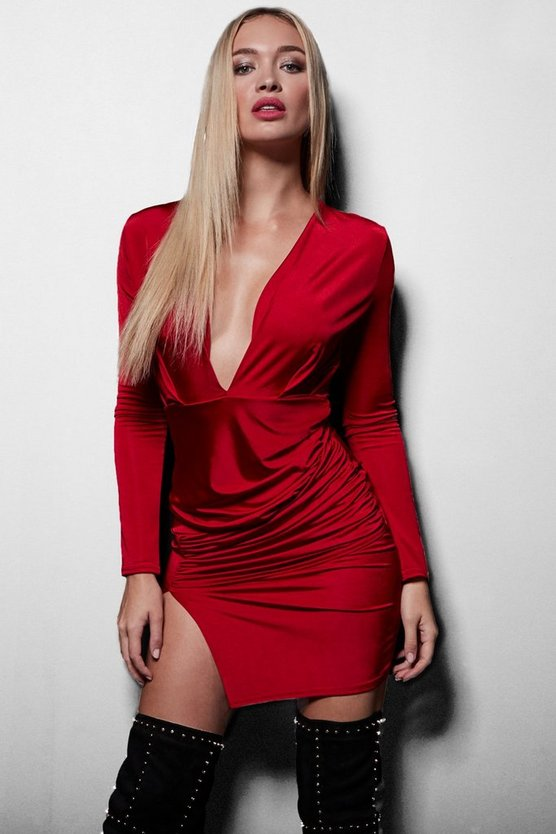 Textured Wrap Detailing Bodycon Dress