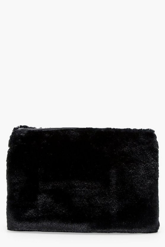 Maisy Faux Fur Ziptop Clutch