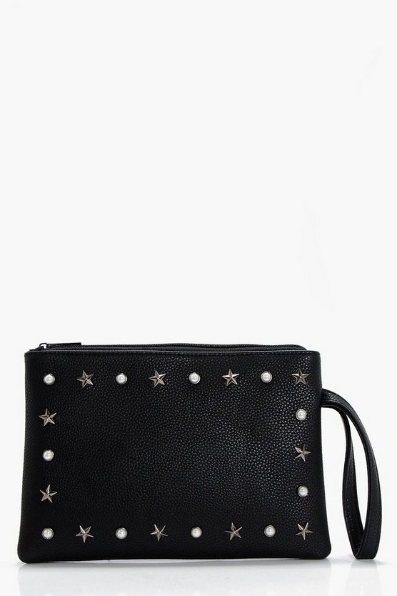 Pearl And Star Ziptop Clutch