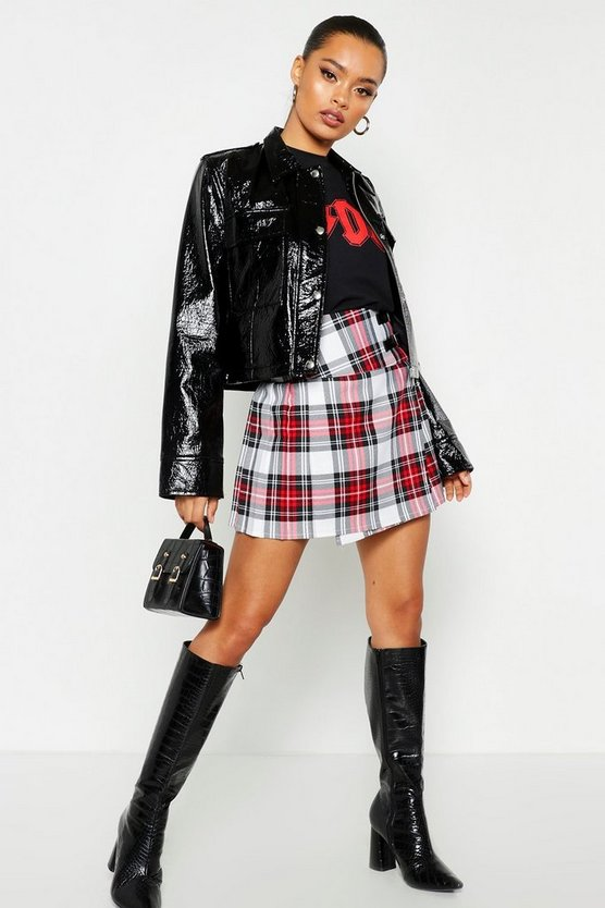 Womens Red Buckle Detail Tartan Check Pleated Kilt Woven Skirt