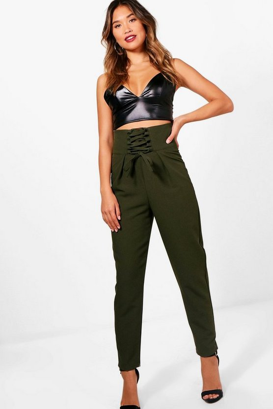 Corset Waist Slim Fit Woven Trousers