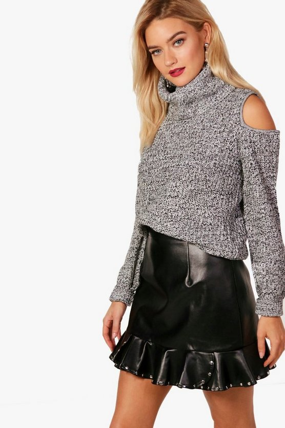 Cut Out Shoulder Roll Neck Jumper