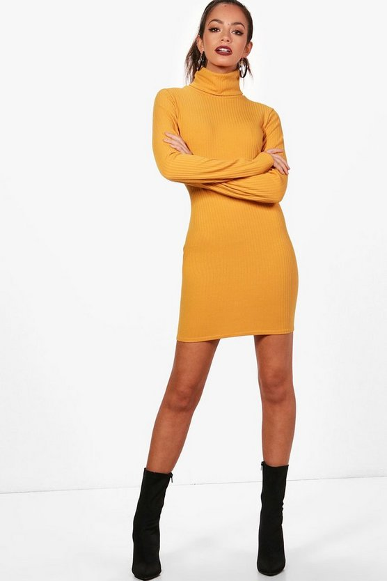 Rib Knit Roll Neck Dress