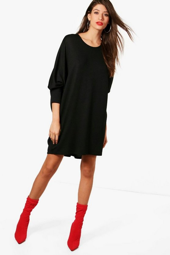 Oversized Batwing Knitted Dress, Black, Donna