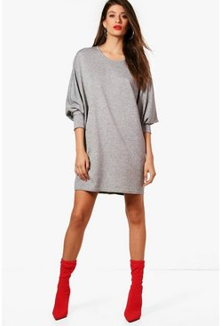 Womens Grey Oversized Batwing Knitted Dress