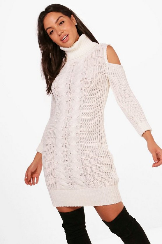 Roll Neck Cold Shoulder Jumper Dress