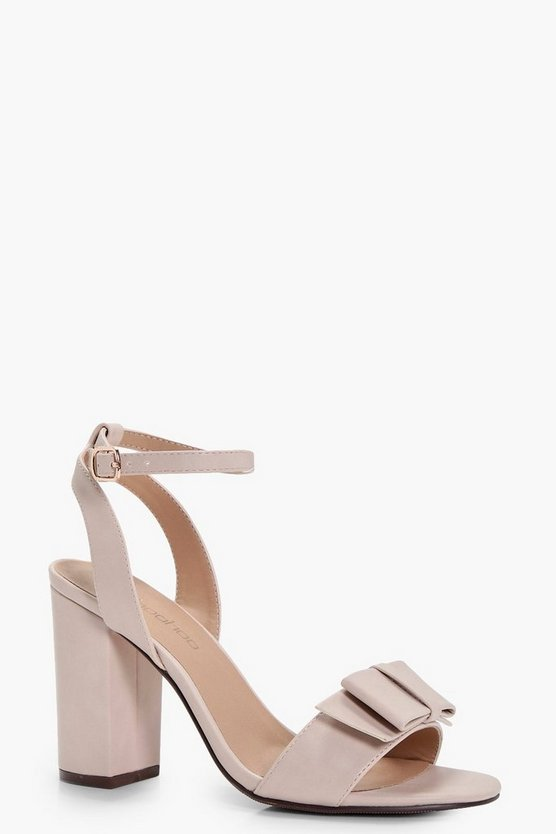Mollie Wide Fit Bow Trim Block Heels