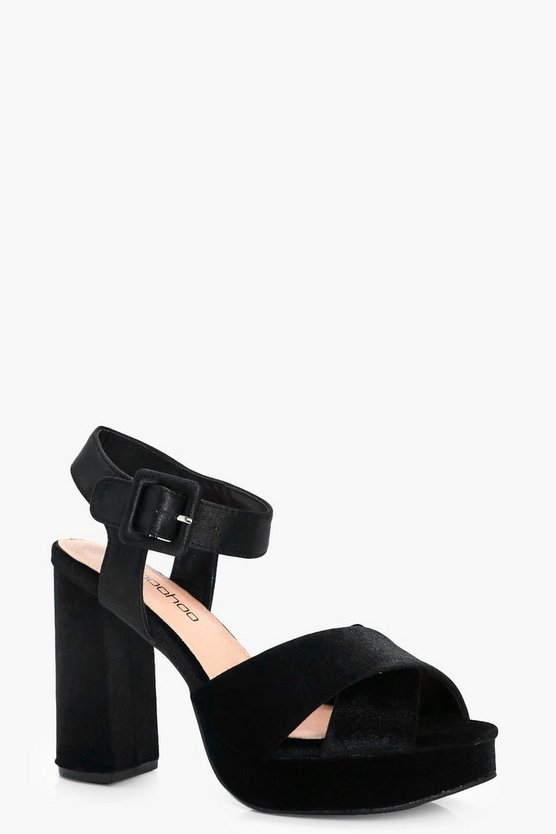 Mae Wide Fit Velvet & Satin Mix Cross Front Heels